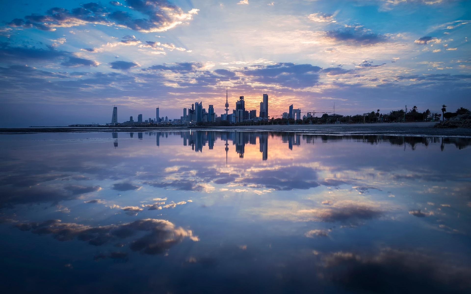 Wallpaper Dusk Kuwait City buildings sea clouds 1920x1200 HD 1920x1200