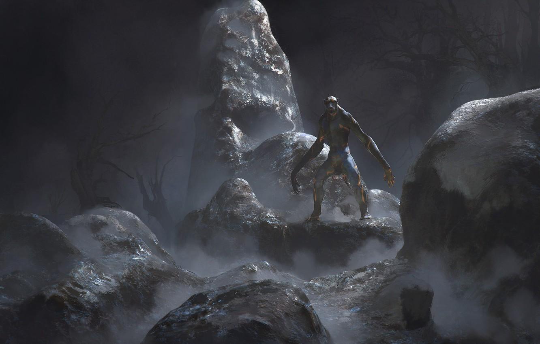 Wallpaper stones the darkness freak monster Humanoid creature 1332x850