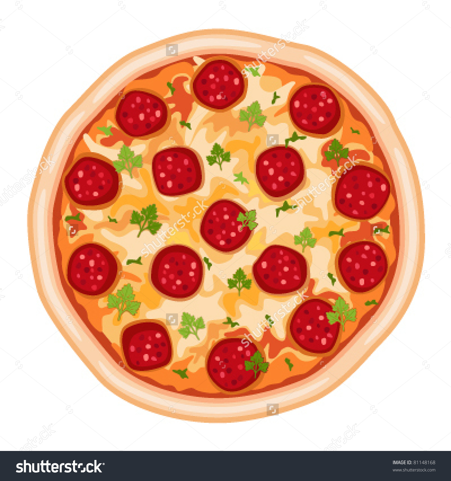 Tasty pizza salami Isolated over white background Vector file saved 1500x1600
