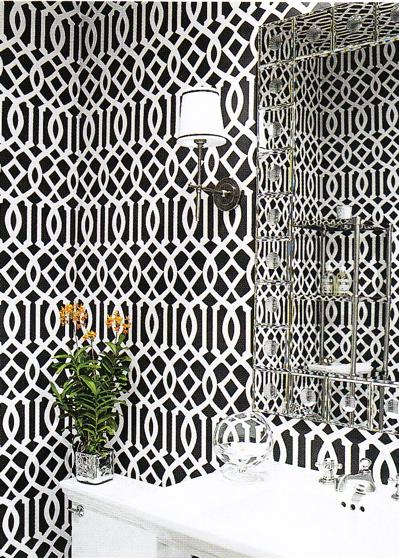Imperial Trellis Wallpaper   Contemporary   bathroom   Elle Decor 399x558