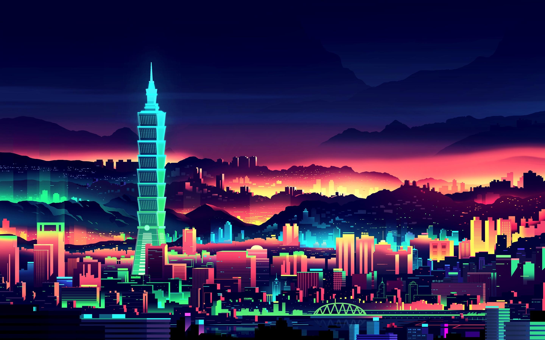 Neon City Wallpaper [2880 x 1800] wallpaper 2880x1800