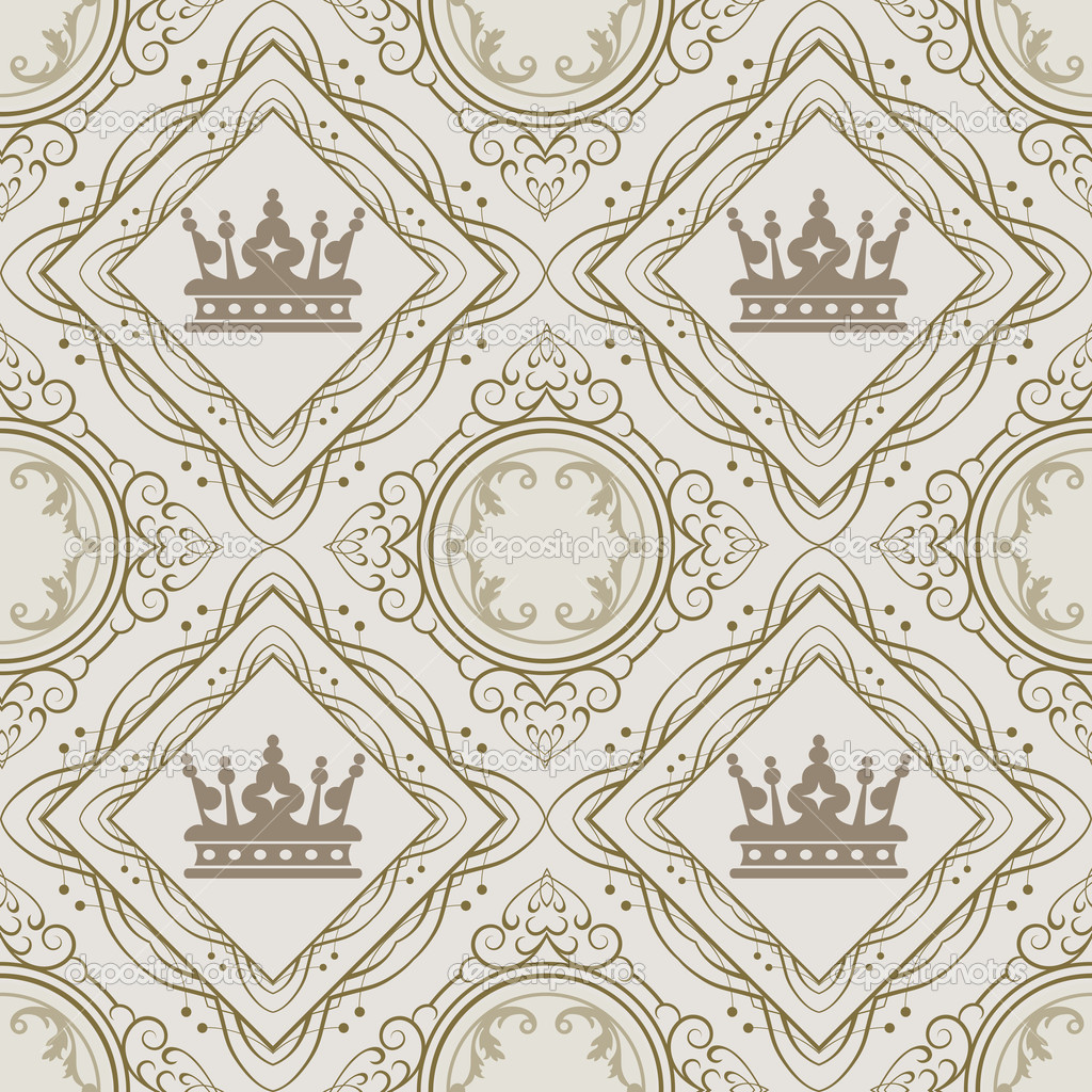 Seamless Vintage Wallpaper Pattern Vector Stock Vector 1024x1024