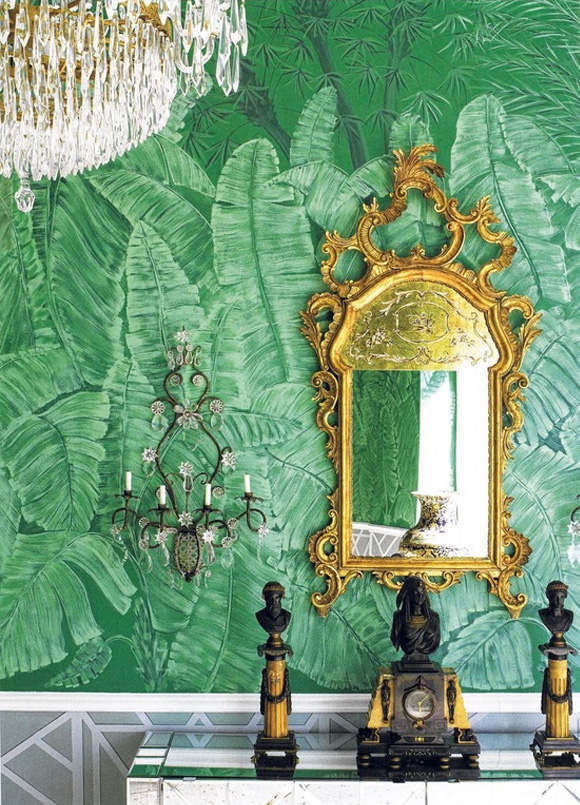 10 Of My Favorite Interiors with Palm Leaf Wallpaper Live The Life 580x805