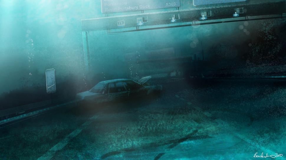 Submerged Underwater Freeway Blue HD wallpaper art and paintings 970x545