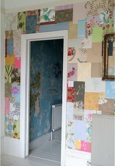 Wallpaper samples patchwork wall via Little Blue Deer 447x640