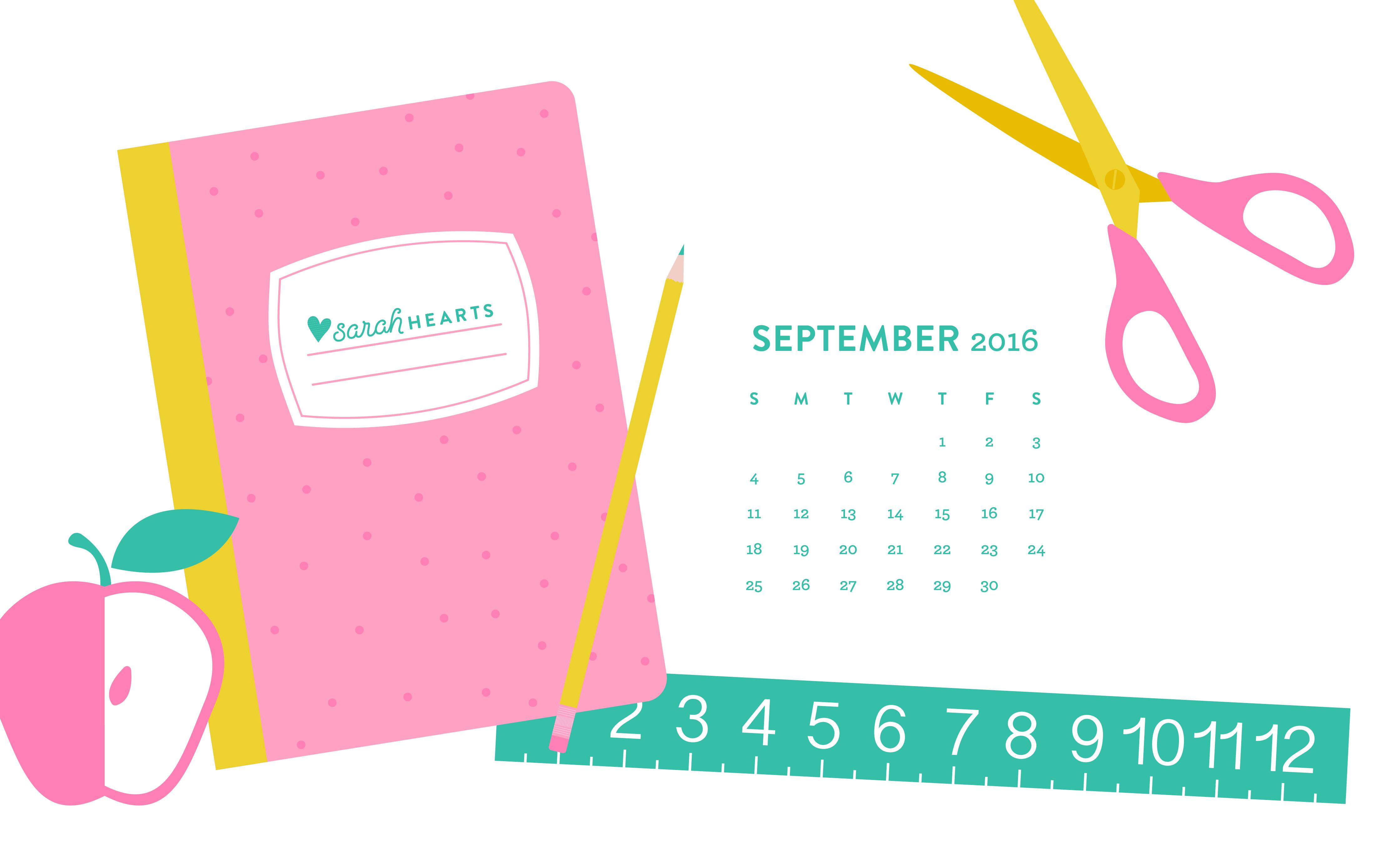 September 2016 Back to School Calendar Wallpaper   Sarah Hearts 4400x2750