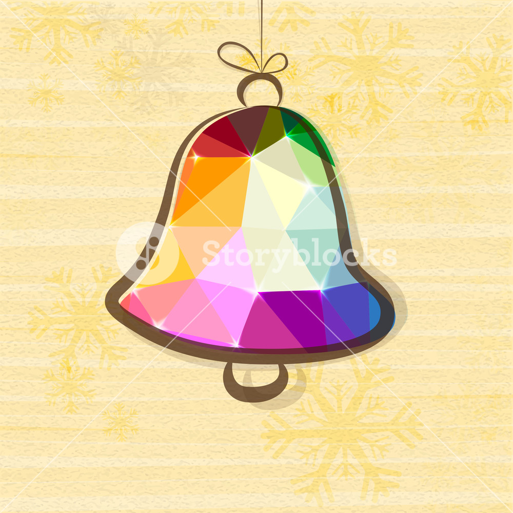 Creative colorful origami Jingle Bell hanging on Snowflakes 1000x1000