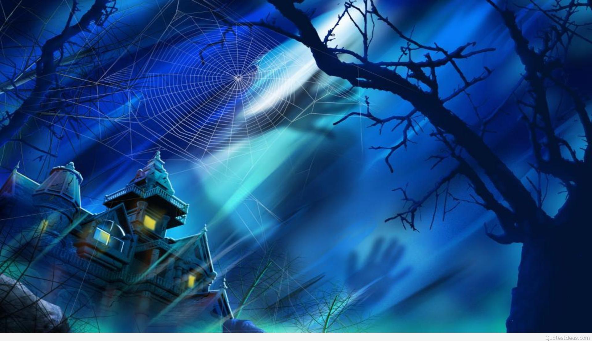 Blue wallpaper Happy Halloween night 1920x1107