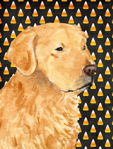 Golden Retriever Candy Corn Halloween Portrait Flag Canvas House Size 379x500