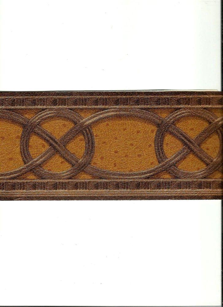 Geometric Brown Leather Look Wallpaper Border LL081141B eBay 727x1000