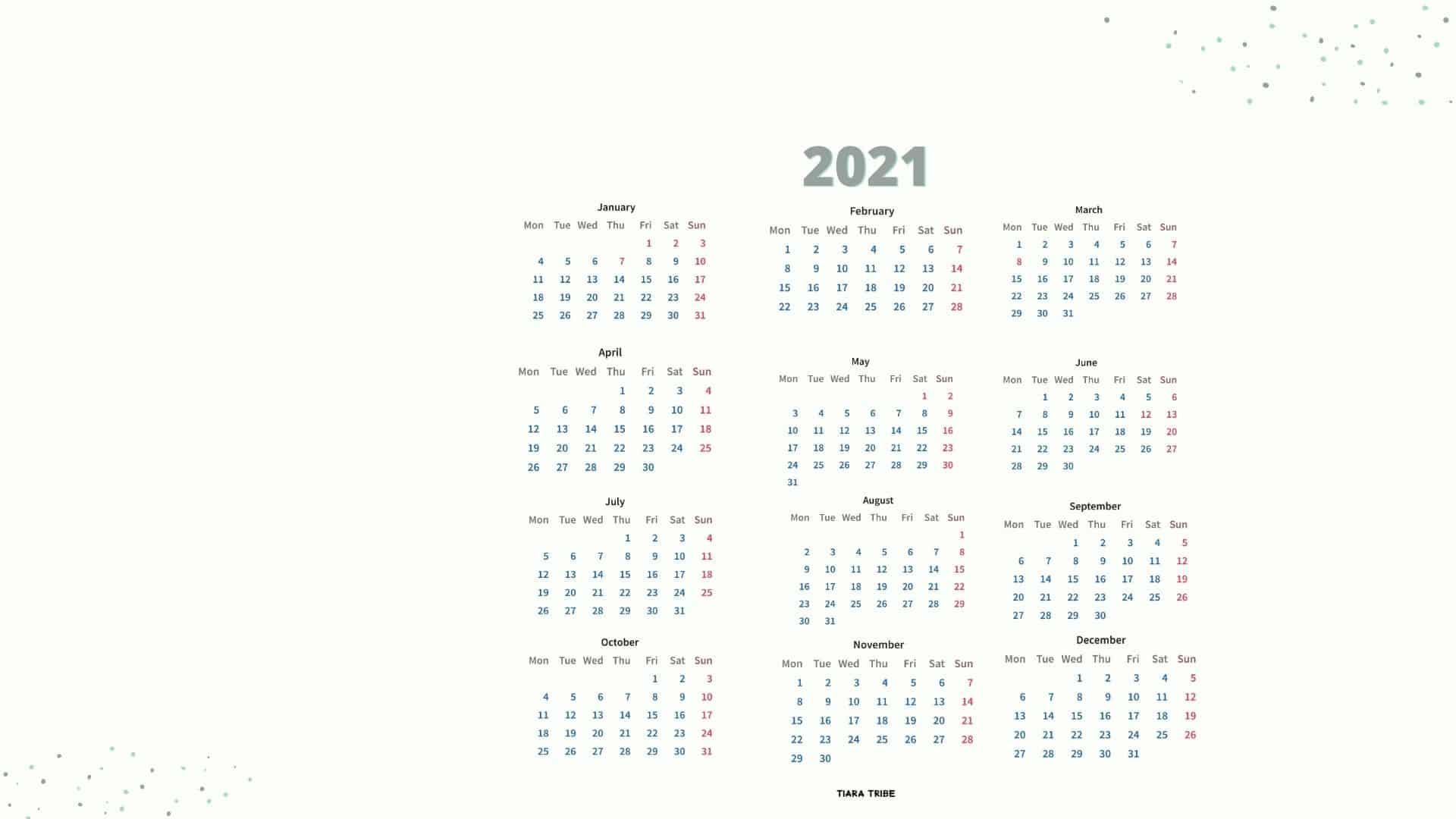 2021 Desktop Calendar Wallpaper   Immediate Download Tiara 1920x1080