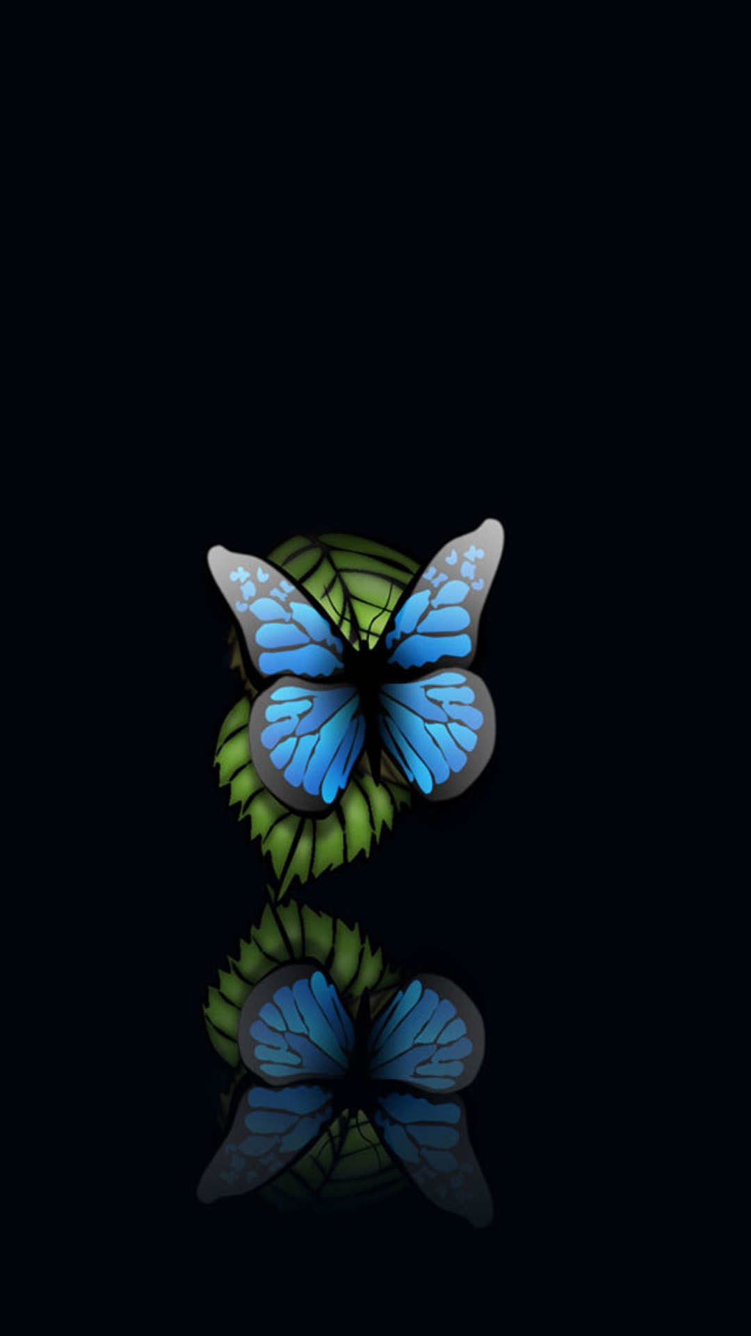 Blue Butterfly Black Background Android Wallpaper download 1080x1920