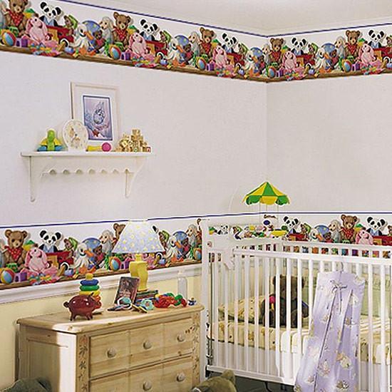 Free Baby Nursery Toy Shelf Wallpaper Border