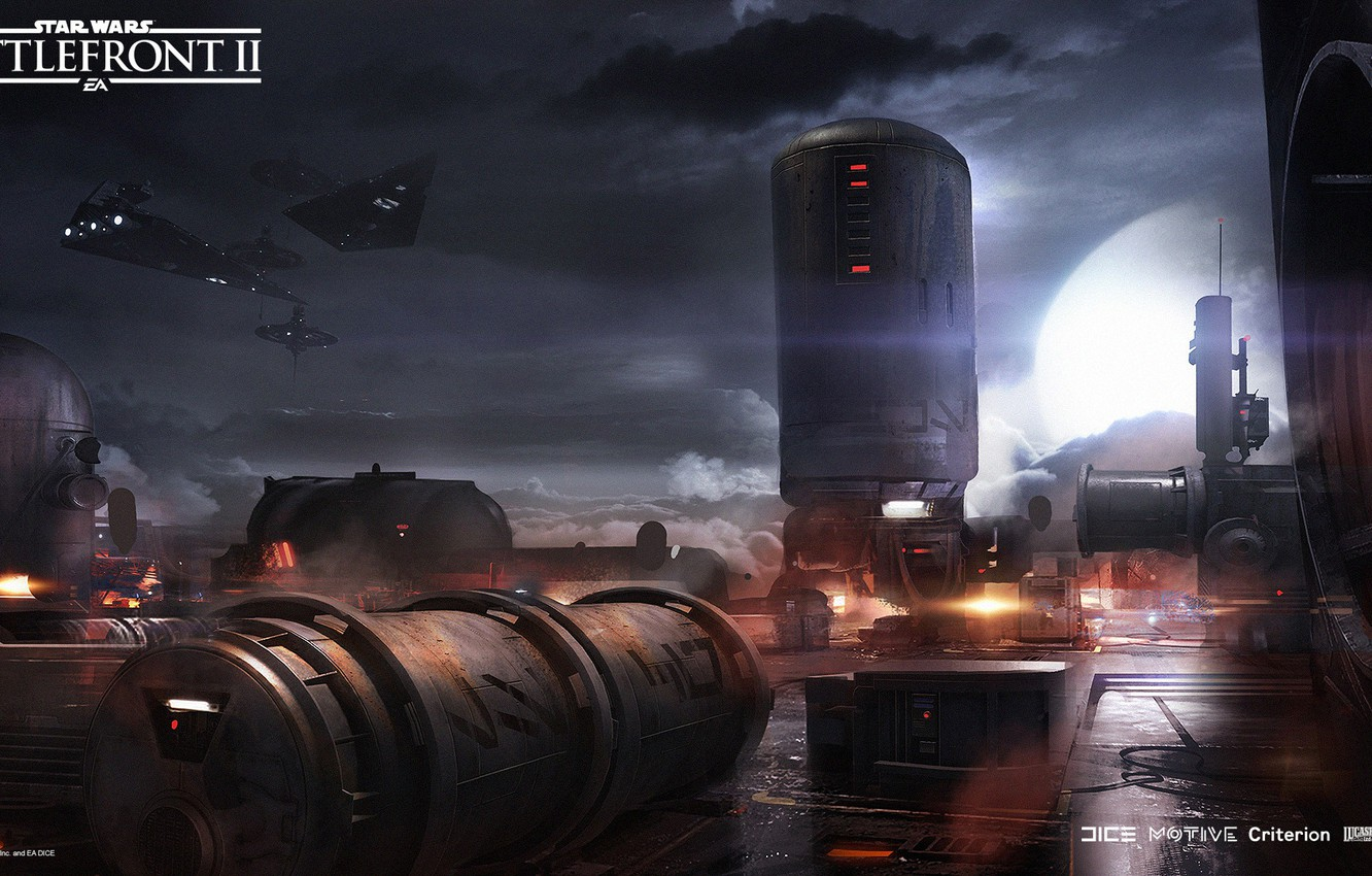 Wallpaper clouds ships facilities Star Wars Battlefront II 1332x850