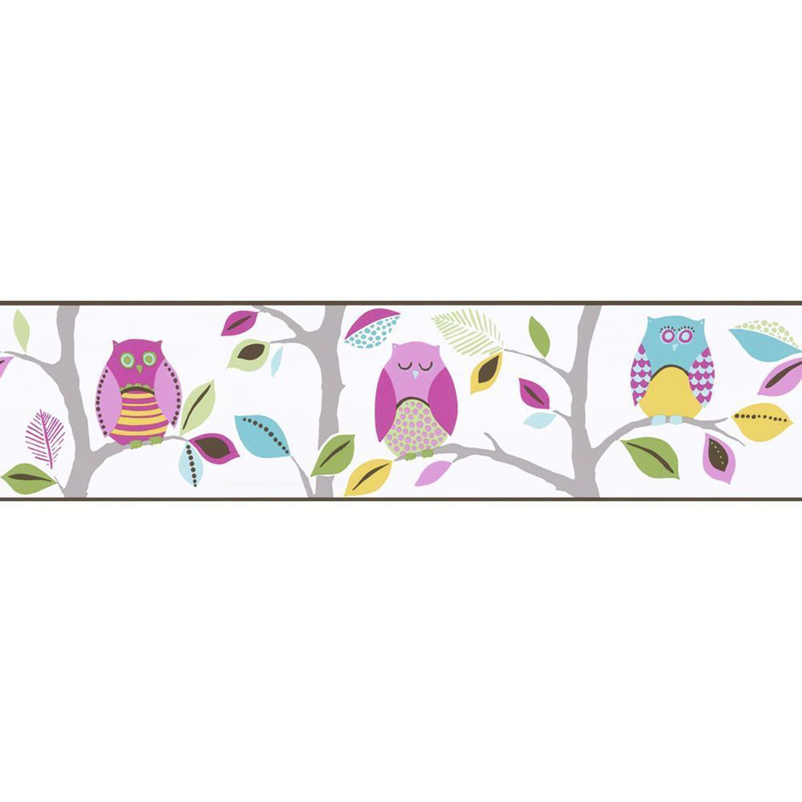 BRIGHT OWLS SELF ADHESIVE WALLPAPER BORDERS 8955 23 AS CREATION 1600x1600