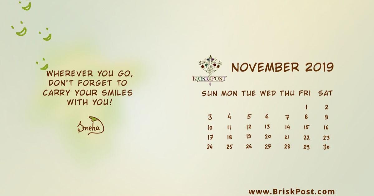 November 2019 Calendar 1200x630