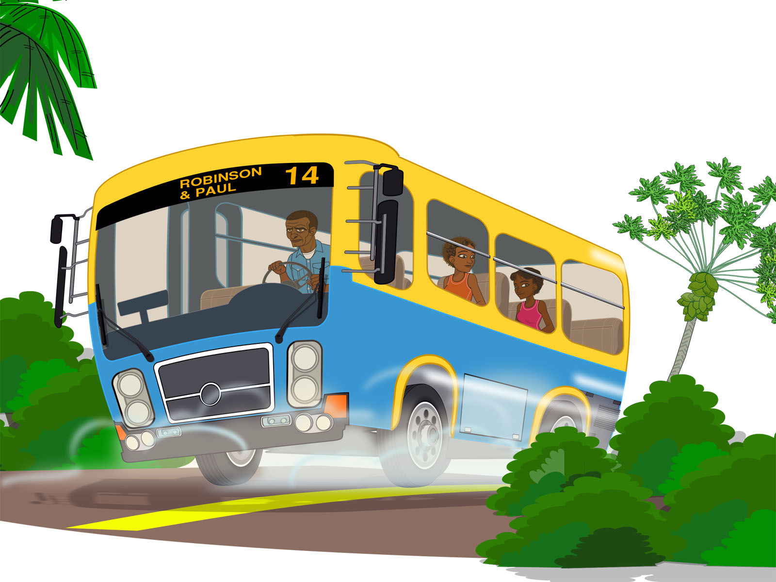 Island school bus Backgrounds   Educational   PPT Backgrounds 1600x1200