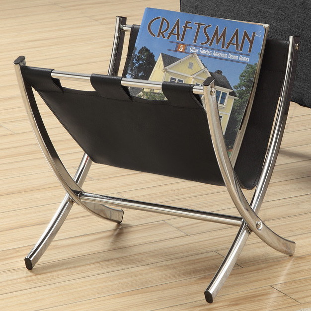Black Leather LookChrome Metal Magazine Rack contemporary magazine 626x626