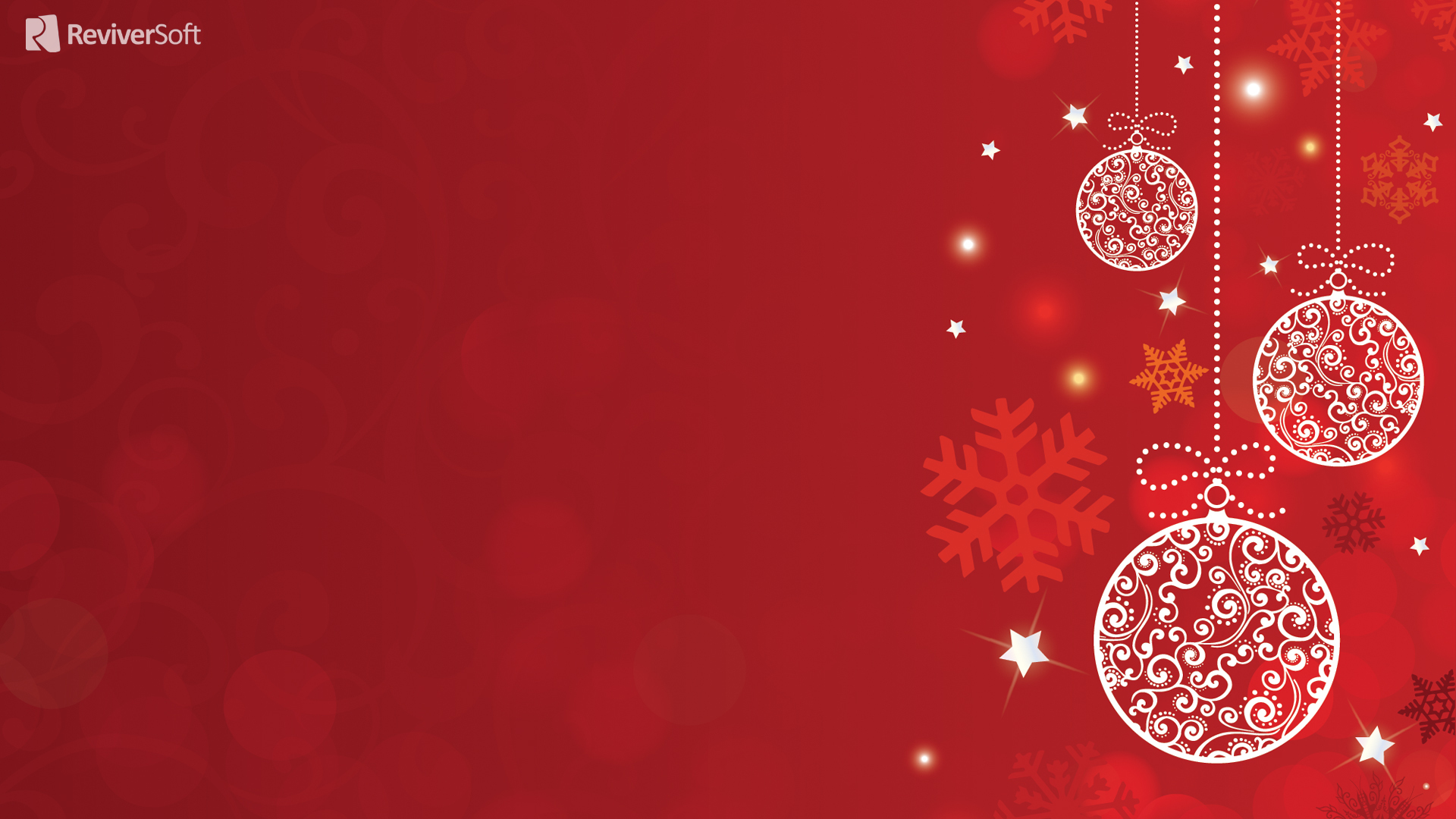 White Christmas decorations on a red background on 1920x1080