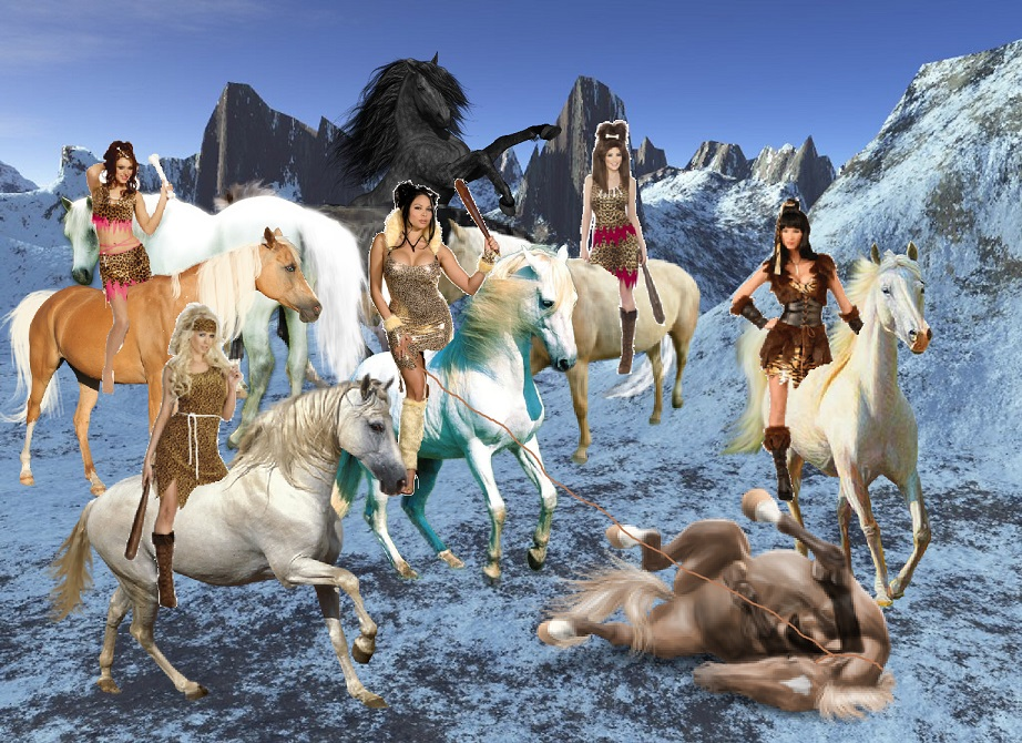 A Band of Cavewomen captures and taming Beautiful Wild Horses 922x670