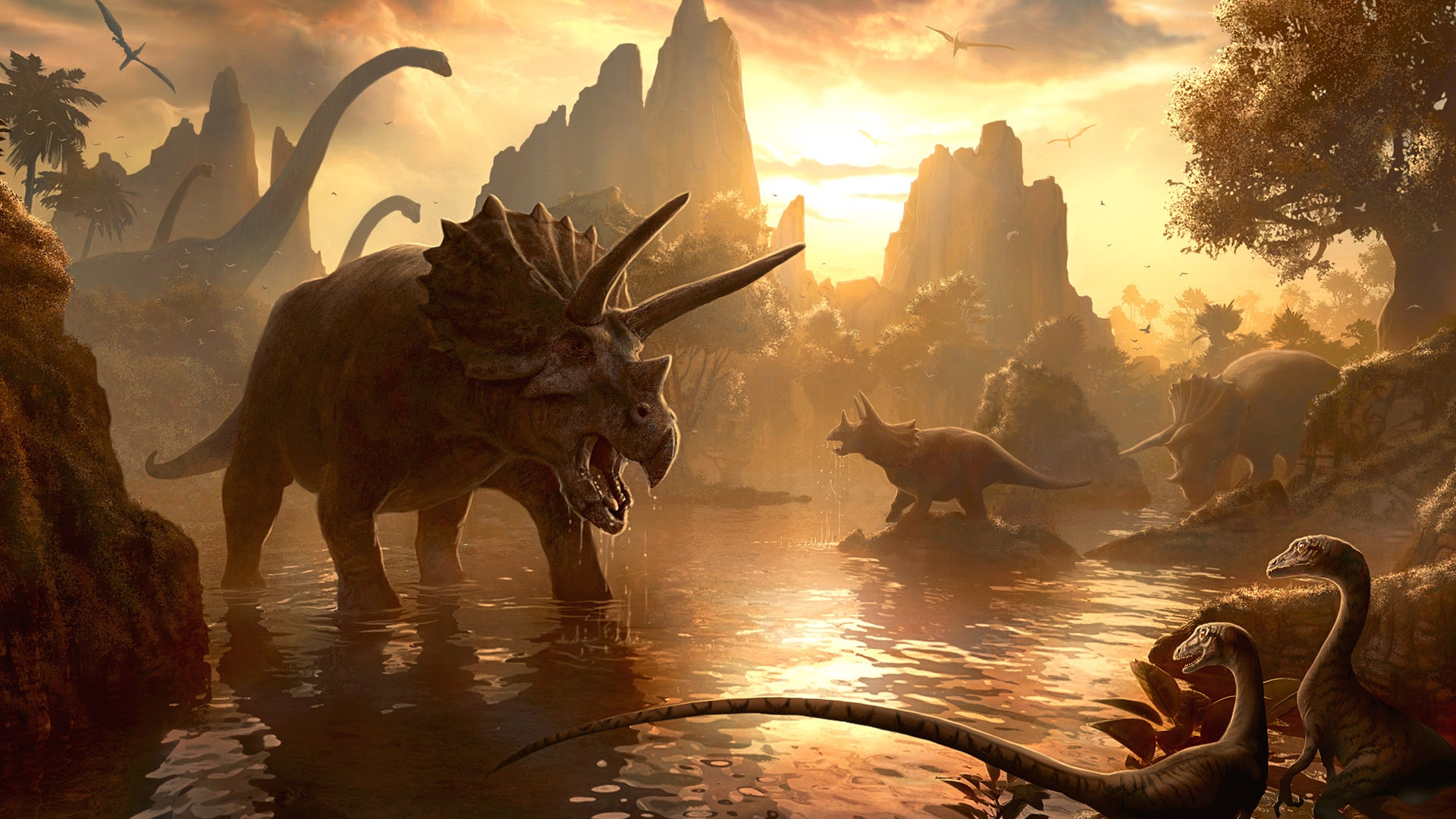 Dinosaur Wallpapers Dinosaurs Triceratop River HD Wallpaper 1920x1080