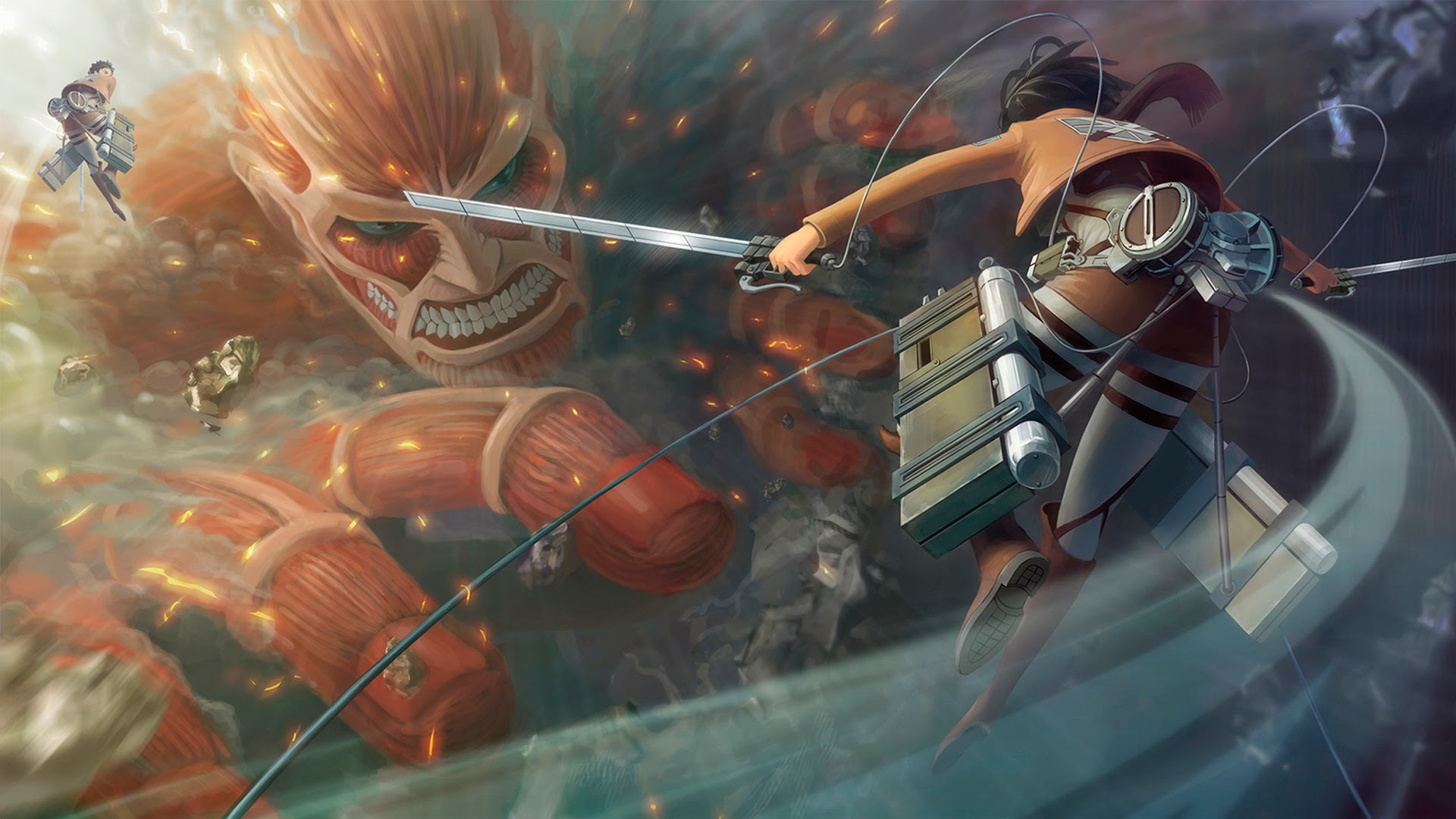 fighting titan attack on titan shingeki no kyojin anime hd wallpaper 1920x1080