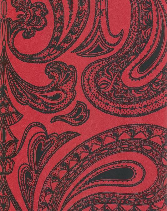 Malabar Wallpaper Black on red Indian paisley design wallpaper 534x677