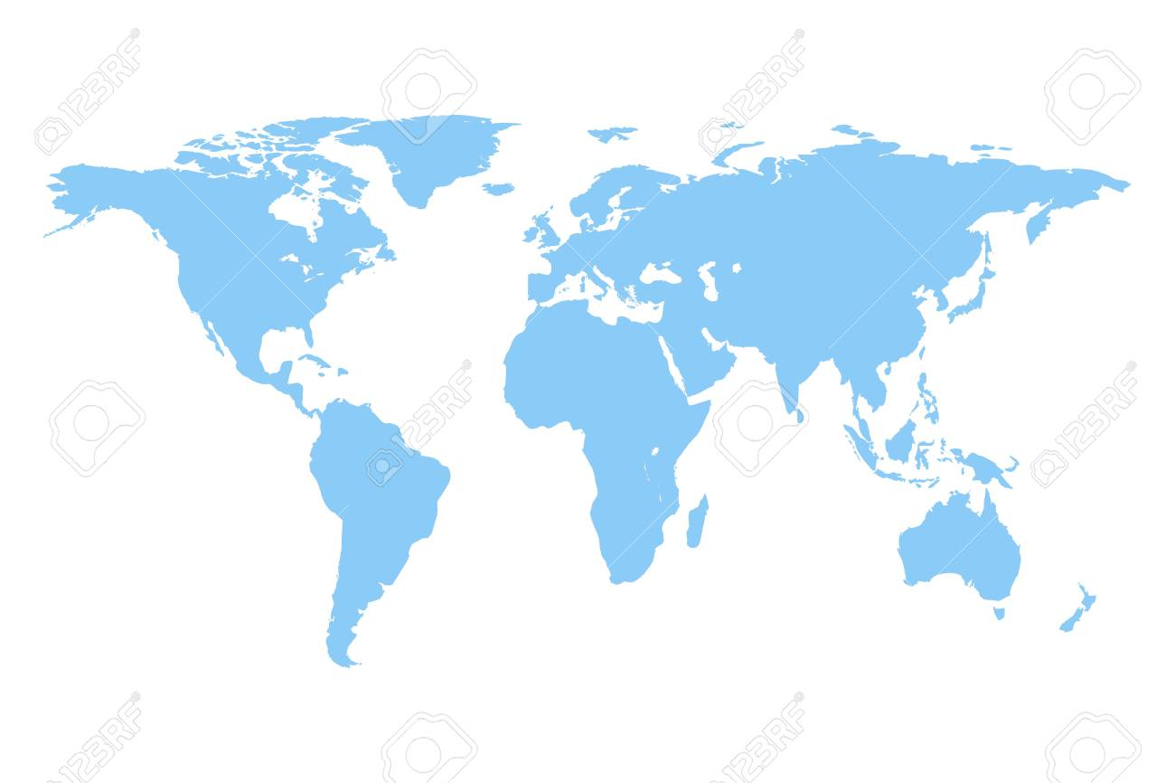 World Map Vector Isolated On White Background Flat Earth Gray 1300x866