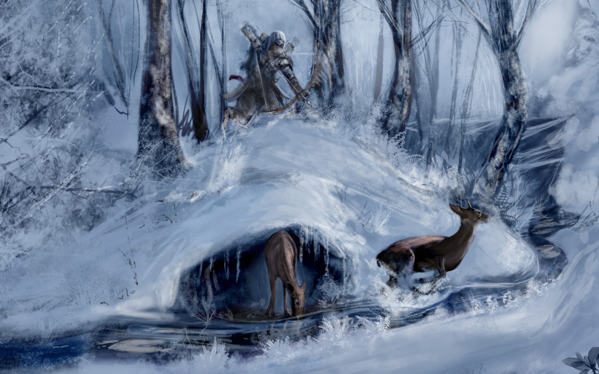 Winter Deer Wallpaper Deer Nature Winter Snow 1920x1200