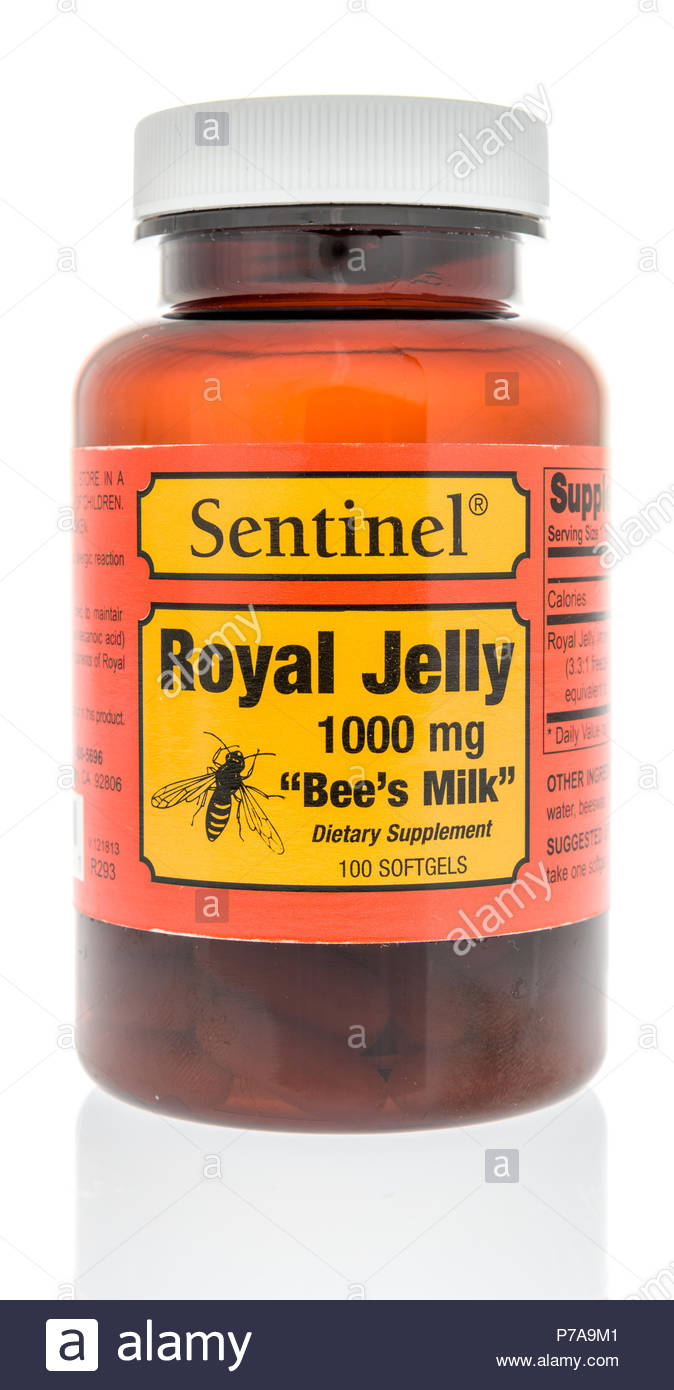 Winneconne WI   4 July 2018 A bottle of Sentinel royal jelly on 674x1390