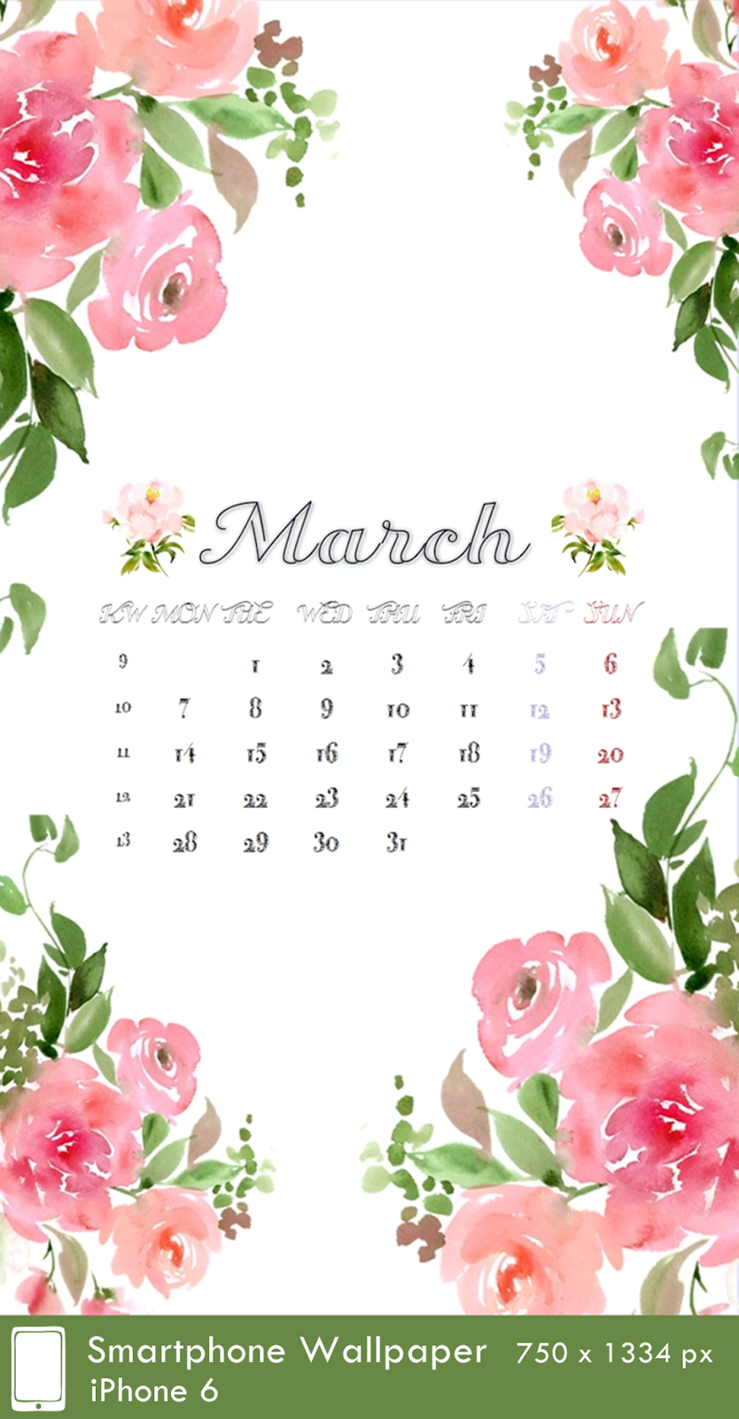 iPhone 6 Wallpaper 750 x 1334px Calendar 3 March 2016 planner in 834x1600
