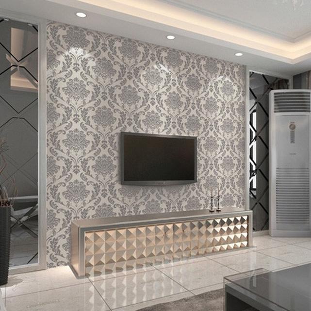 Damask Wallpaper Roll Modern fasgion Glitter Waterproof Purple 641x641