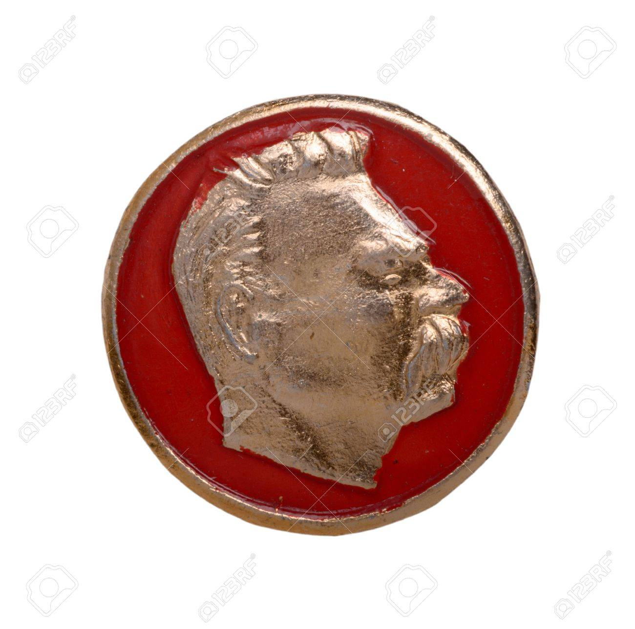 Soviet Badge With Maxim Gorky Isolated On A White Background Stock 1300x1287