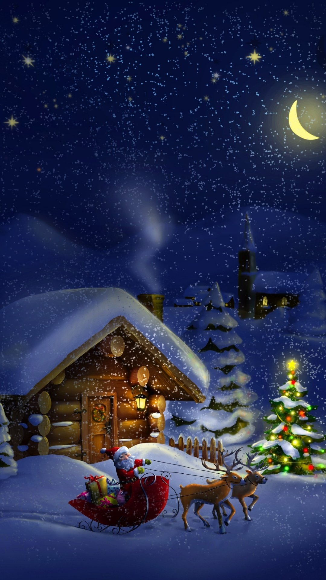 Christmas night with Santa 4K Ultra HD wallpaper 4k WallpaperNet 1080x1920