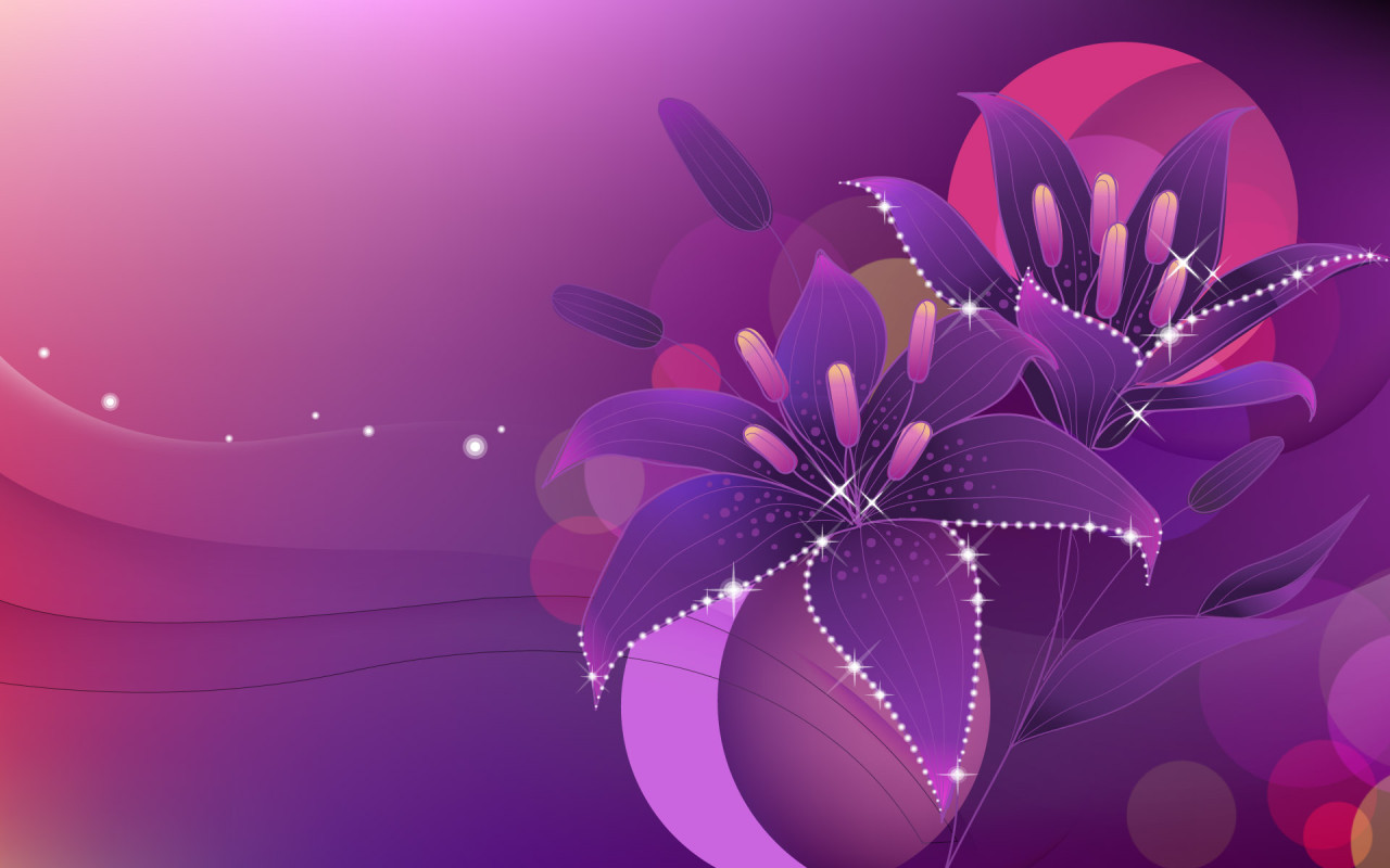 Drawn wallpapers Vector Wallpapers Violet flowers 015897 jpg 1280x800