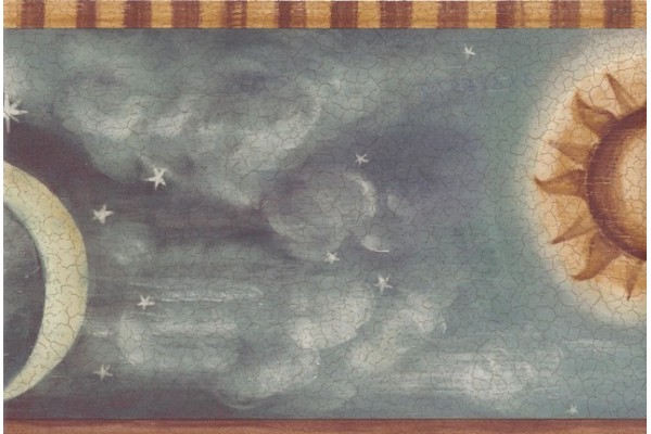 Home Brown Yellow Grey Sun Moon Wallpaper Border 600x400