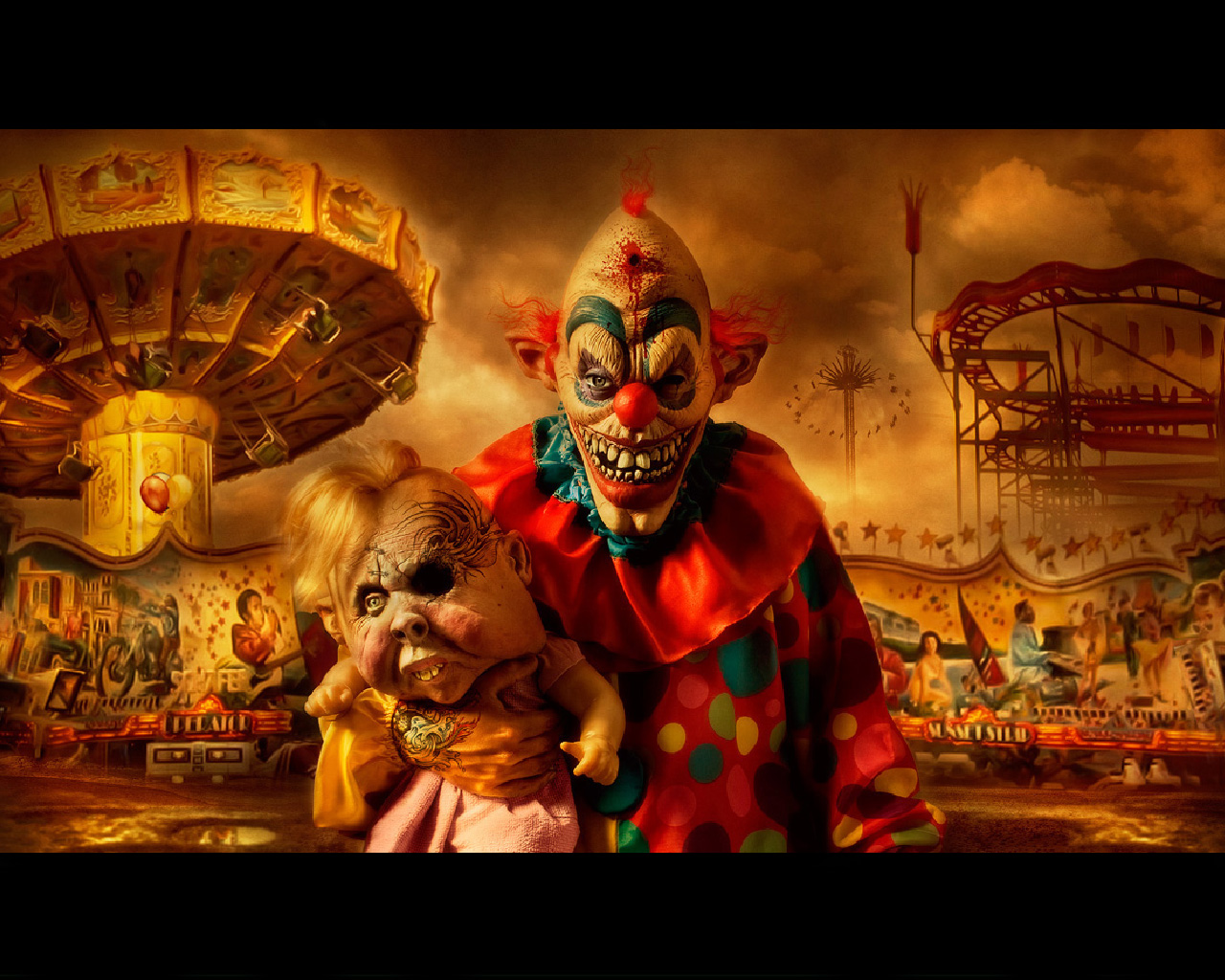 scary clowns hd wallpapers 1280x1024