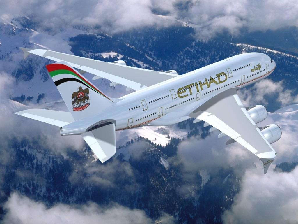 Download Wallpaper Airbus A380 airline of Etihad Airways 1024 x 768 1024x768