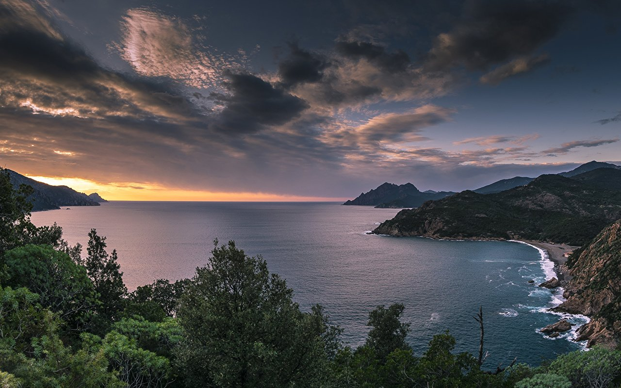 Pictures corsica Sea Nature Mountains Sky Landscape photography 1280x800