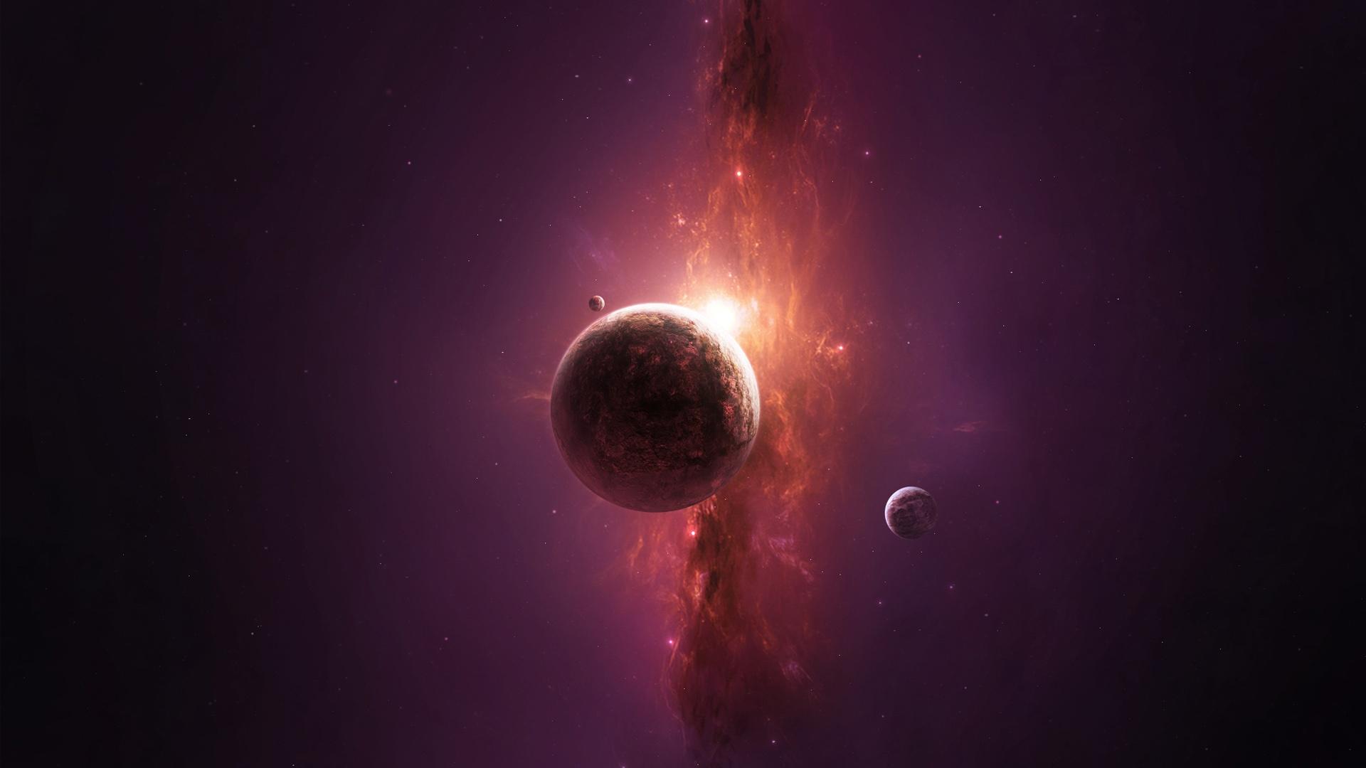 Full HD Wallpaper planet violet nebula moon side view Desktop 1920x1080
