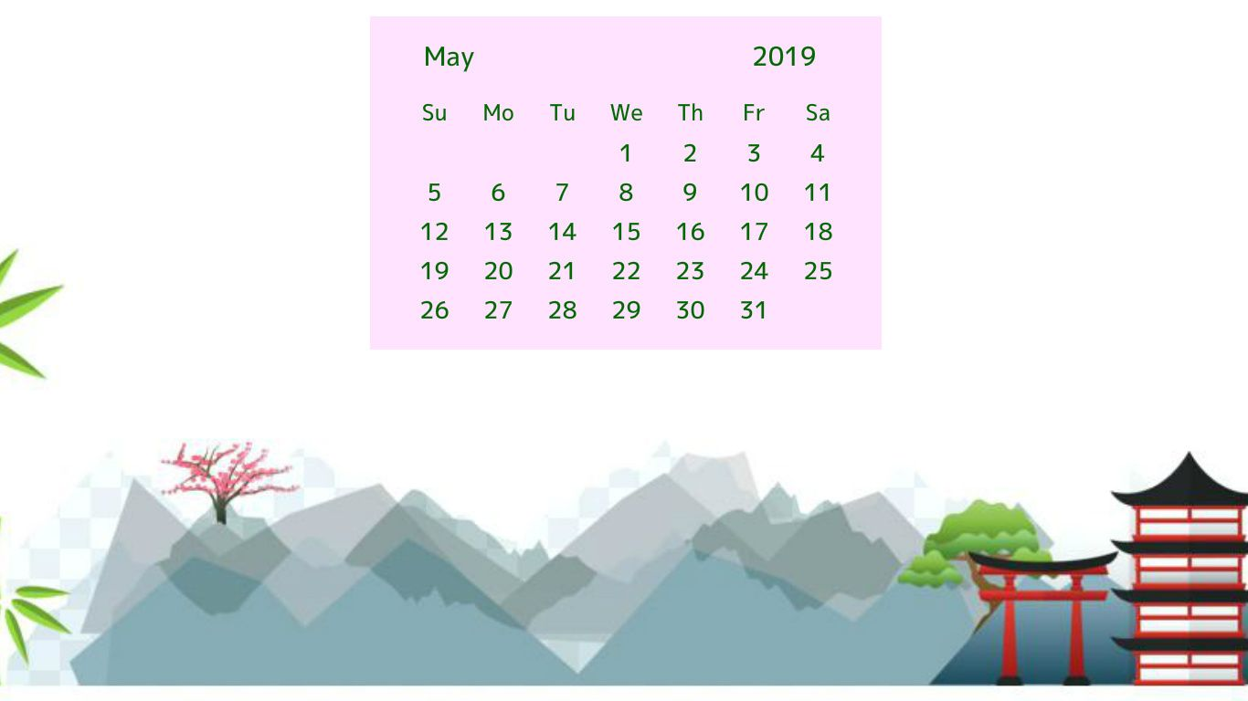 may 2019 nature calendar wallpaper 2019 Calendars Calendar 1366x768