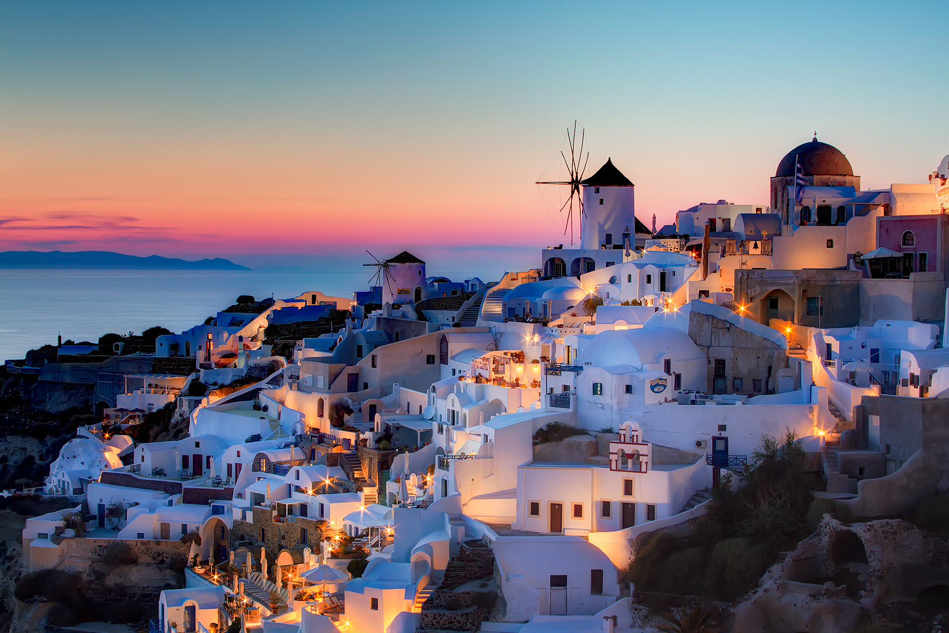 Santorini Sunset HD Wallpaper Background Images 1920x1280