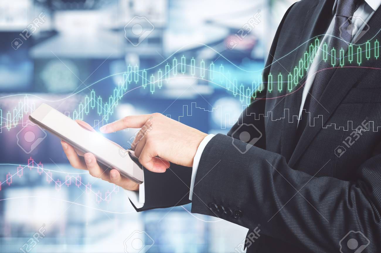 Businessman Using Smartphone On Abstract Forex Background 1300x866
