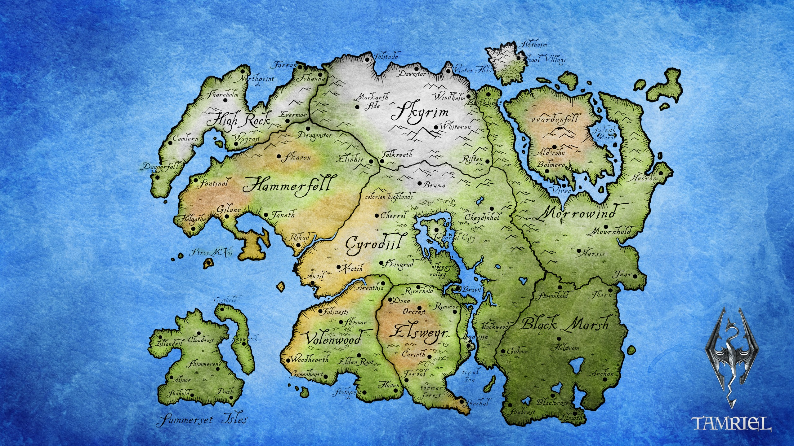 Tamriel Map The Elder Scrolls Wallpapers HD Desktop and Mobile 2560x1440