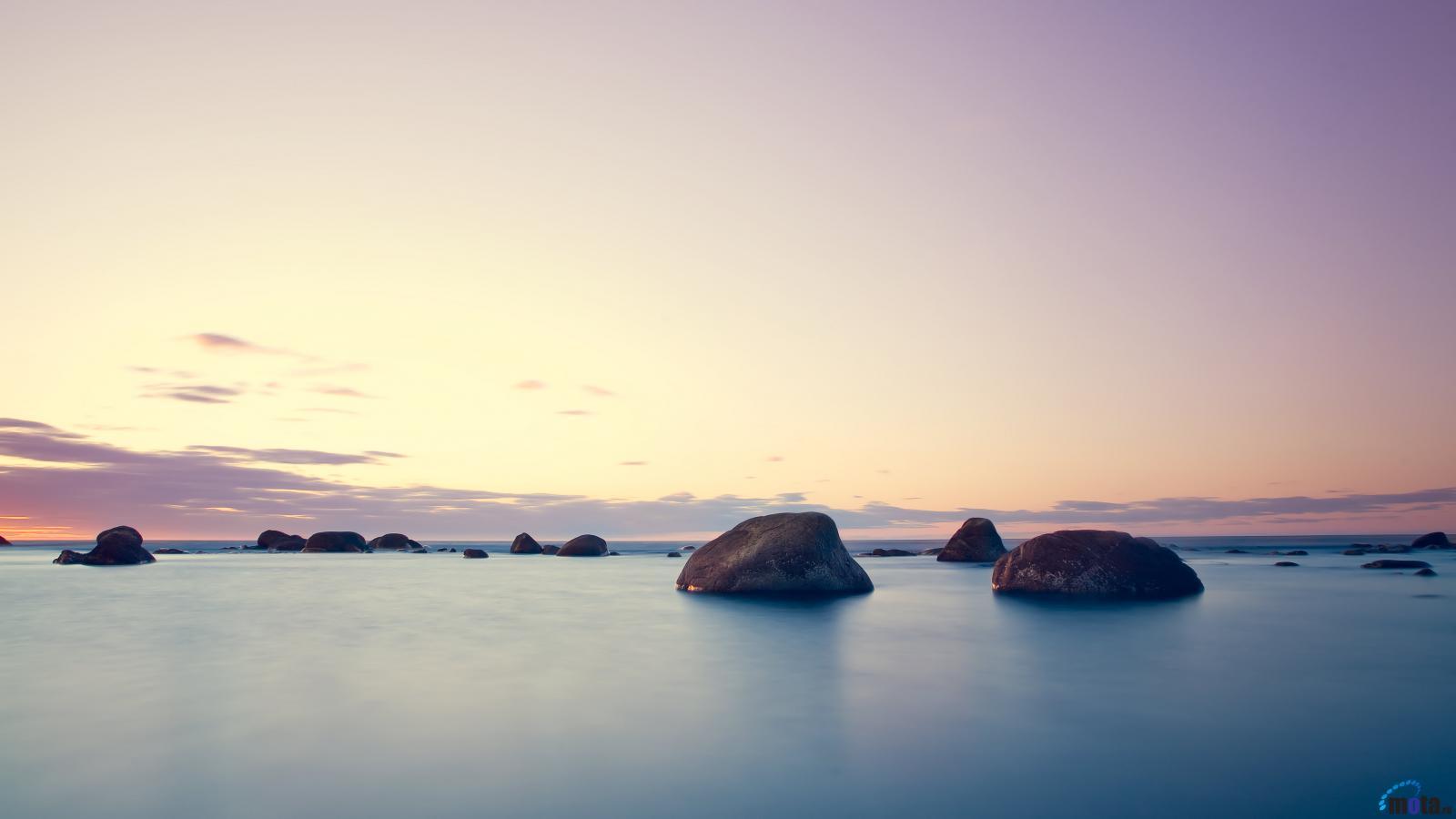 Wallpaper Stones in the calm sea 1600 x 900 widescreen Desktop 1600x900