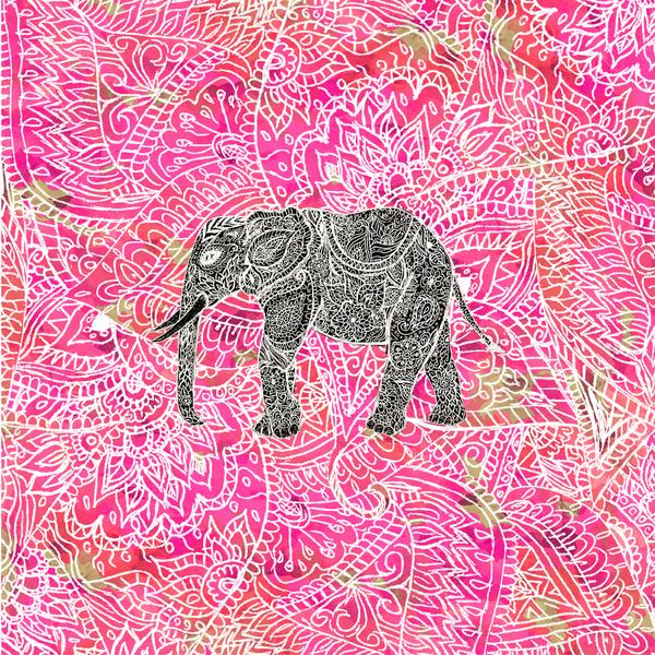 Henna Wallpaper: Pink Elephant Wallpaper