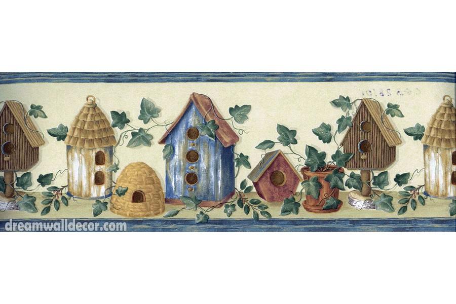 Brown Blue White Bird Houses Wallpaper Border 900x600