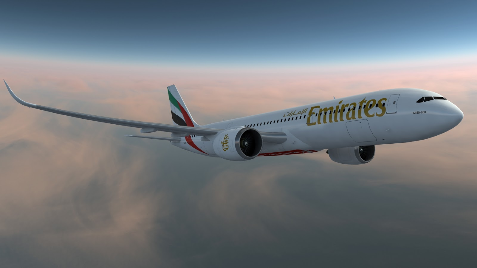 Airbus A350 900 Rendering Image of Emirates Airlines Aircraft 1600x899
