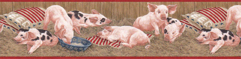 Details about ANIMAL FARM PIGS FEAST wallpaper border AFR7102 770x191