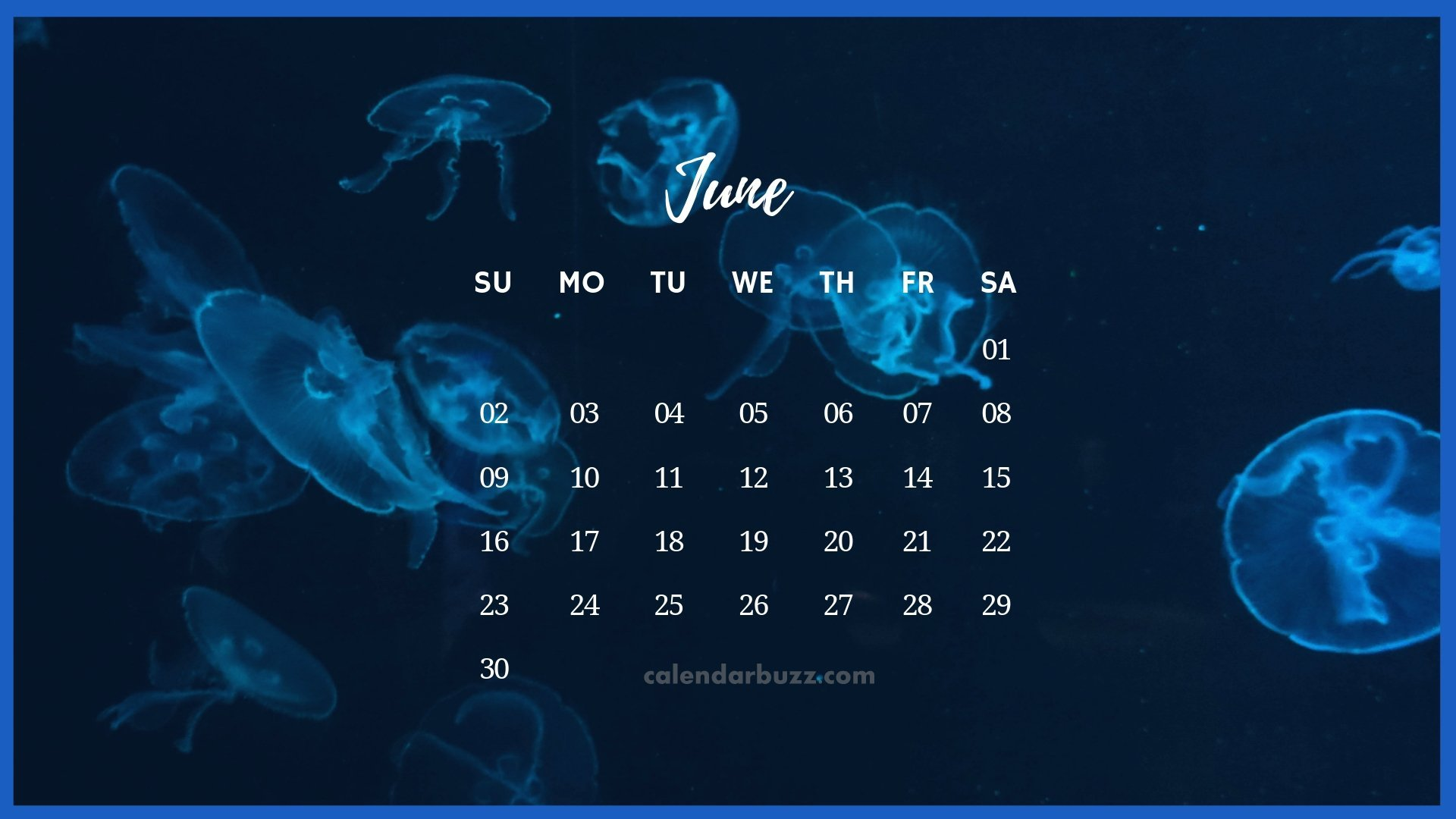 June 2019 Desktop Calendar Wallpaper 1920x1080
